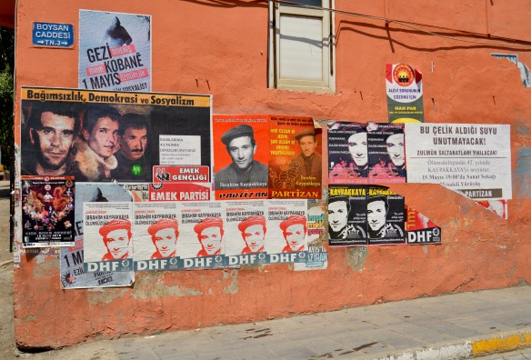 Posters with pictures of Ibrahim Kaypakkaya included, Tunceli.